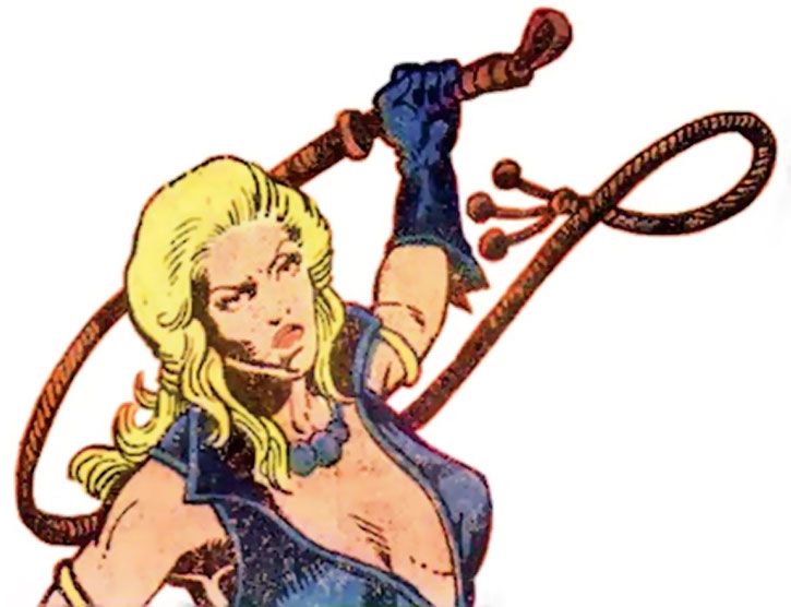 Pavane readies her whip, on a white background