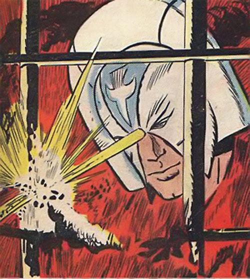 Peacemaker (Charlton Comics) cuts through bars with his helmet laser
