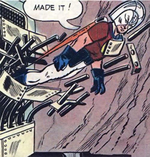Peacemaker (Charlton Comics) flies through steel bars