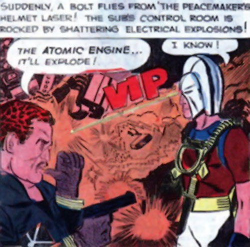Peacemaker (Charlton Comics) fires a laser from his helmet