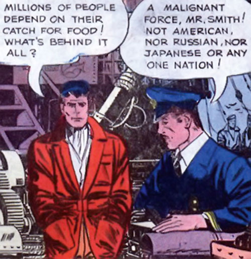 Peacemaker (Charlton Comics) discussing with a sailor
