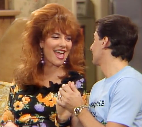 Peggy bundy katey sagal in married with children black floral dress
