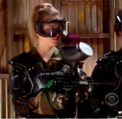 Penny (Kaley Cuoco in Big Bang Theory) in paintball gear