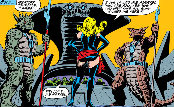 Ms. Marvel (Carol Danvers) faces the rulers of the People
