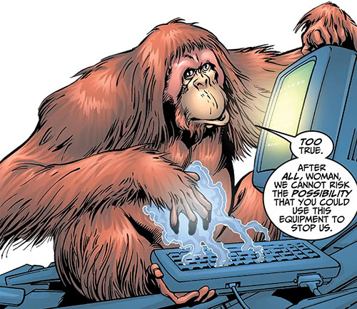 Peotor the orangutan (Super-Apes of the Red Ghost) (Marvel Comics) sabotaging a computer