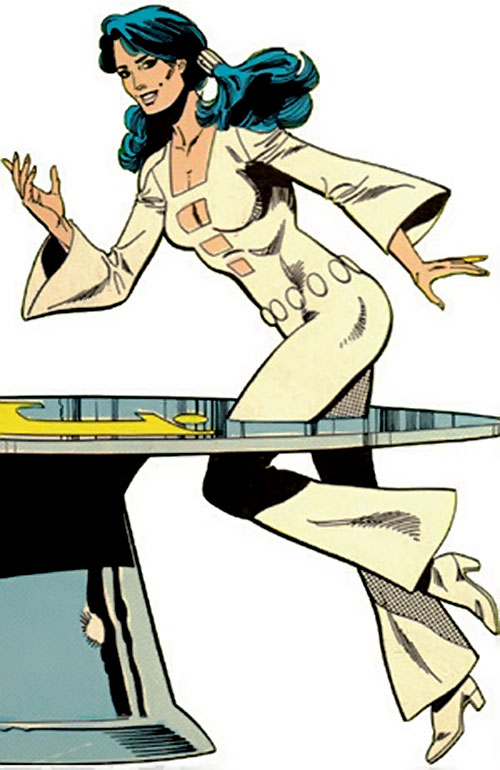 Phantom Girl of the Legion of Super-Heroes (DC Comics) jogging through a table