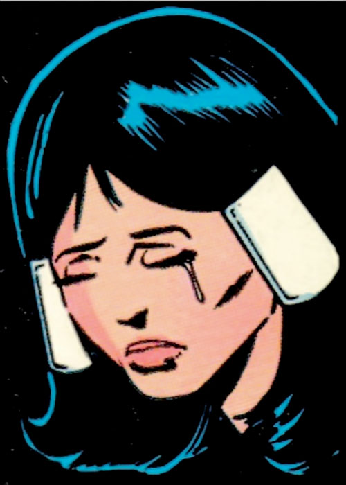 Phantom Girl of the Legion of Super-Heroes (DC Comics) crying face closeup