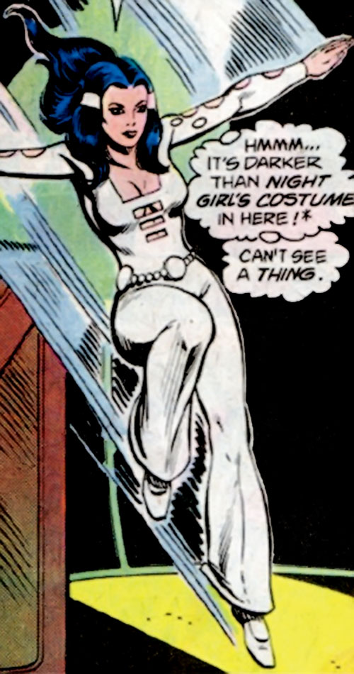 Phantom Girl of the Legion of Super-Heroes (DC Comics) glides down