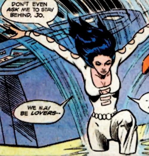 Phantom Girl of the Legion of Super-Heroes (DC Comics) leaps through the floor