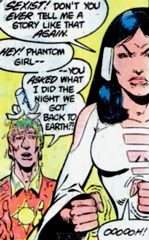 Phantom Girl of the Legion of Super-Heroes (DC Comics) smashes a drink on Sun Boy's head
