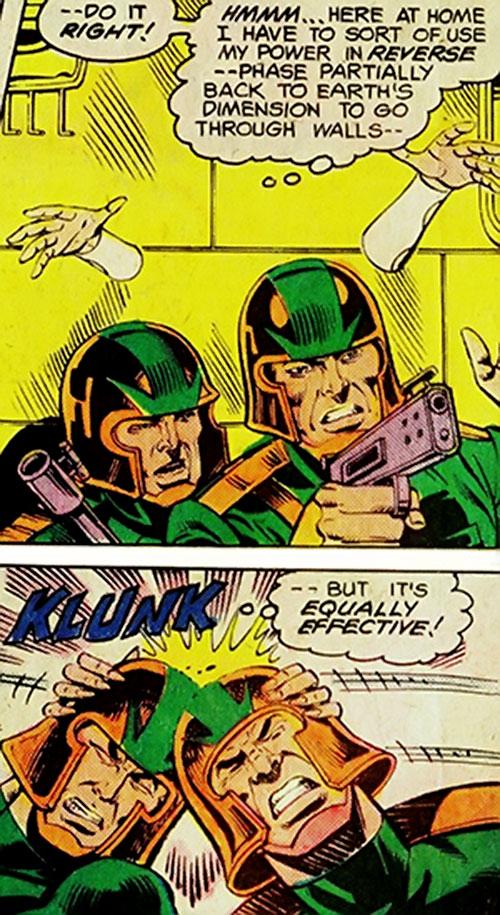 Phantom Girl of the Legion of Super-Heroes (DC Comics) vs. 2 guards