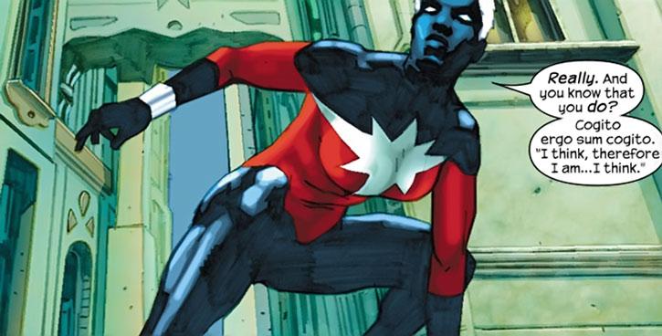 Captain Marvel (Phyla-Vell) crouching