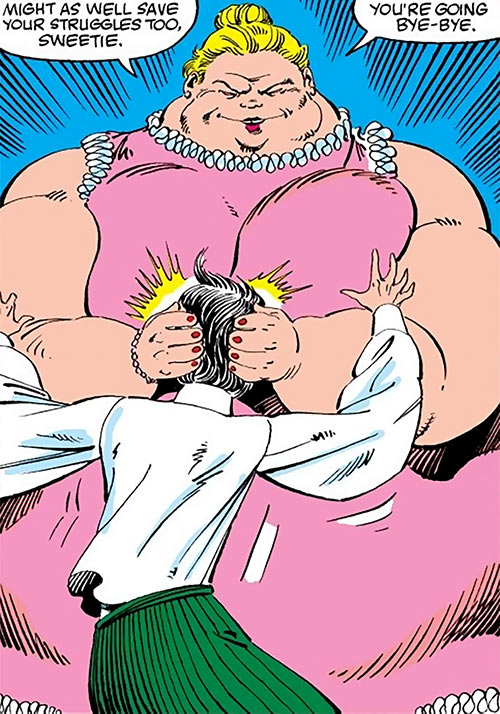 Pink Pearl (Alpha Flight enemy) (Marvel Comics) smothering Aurora