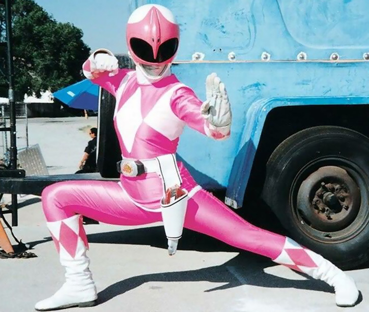 Pink Ranger (Kimberly) of the Mighty Morphin' Power Rangers low stance
