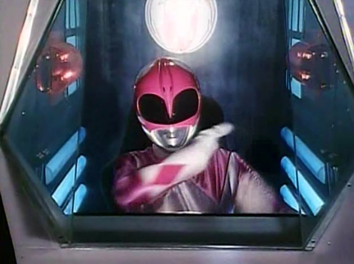 Pink Ranger (Kimberly) of the Mighty Morphin' Power Rangers in cockpit