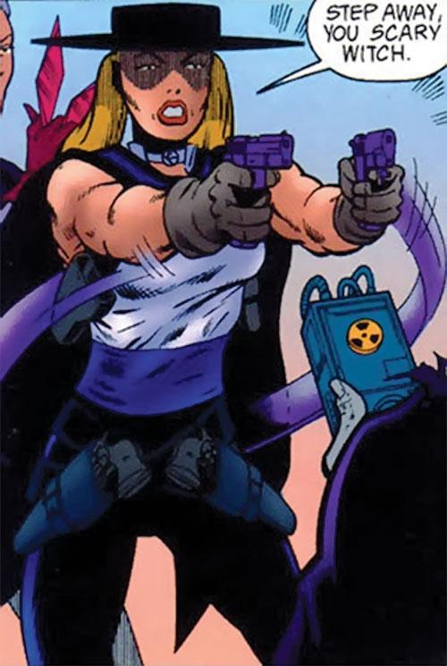 Pistolera of the Ravens (Birds of Prey enemy) (DC Comics) with 4 pistols