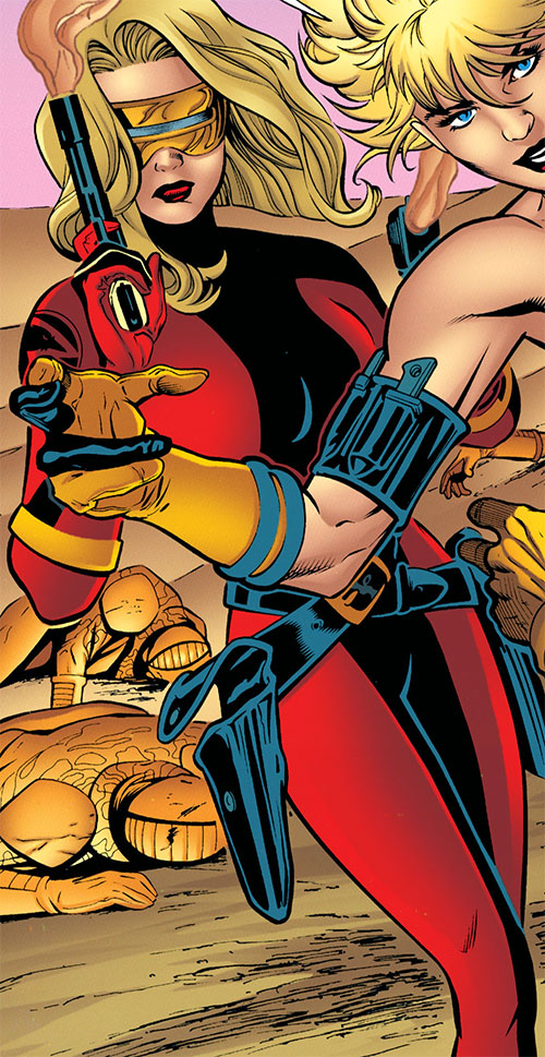 Pistolera of the Ravens (Birds of Prey enemy) (DC Comics) in her red costume