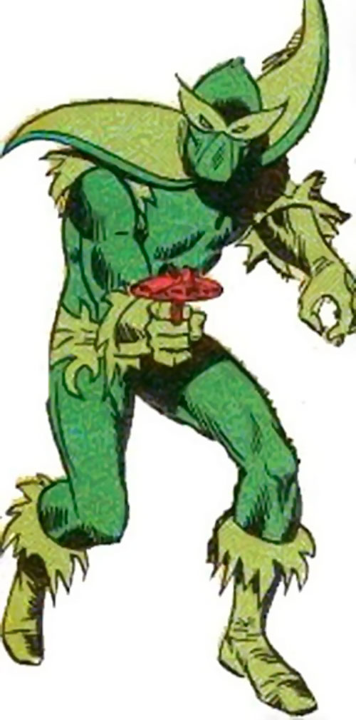 Plantman (Marvel Comics) with the old costume and a gun