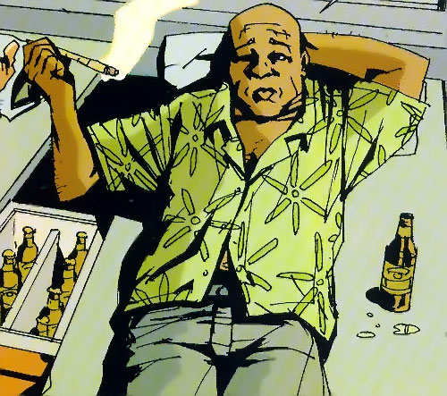 Pooch of the Losers (DC Comics) smoking a joint and drinking beer