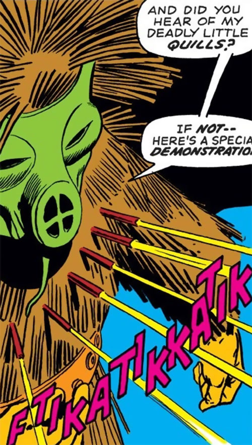 Porcupine (Marvel Comics) firing quills
