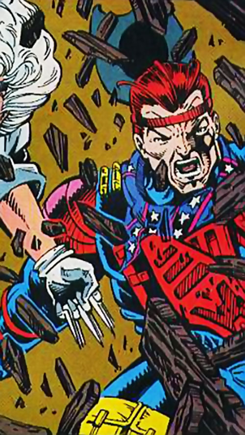 Powell (Silver Sable ally) (Marvel Comics) kicking a door open