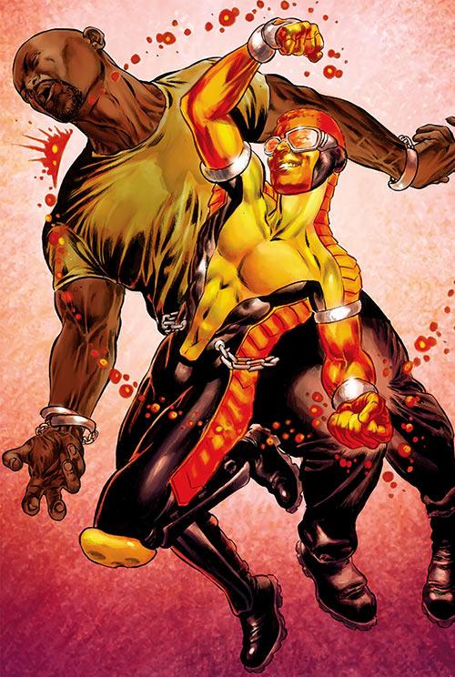 Power Man (Marvel Comics) (Victor Alvarez) punching Luke Cage