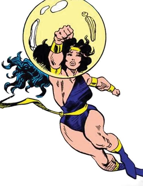Power Princess of the Squadron Supreme (Marvel Comics) flying with her shield