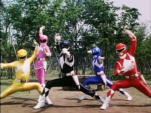 Mighty Morphin' Power Rangers team - posing in a park