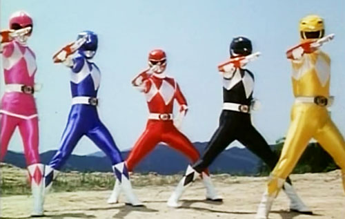 Mighty Morphin' Power Rangers team - posing on hilltop