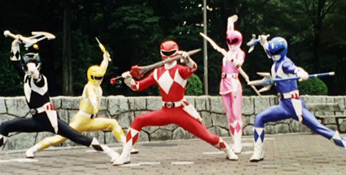 Mighty Morphin' Power Rangers team - posing with weapons