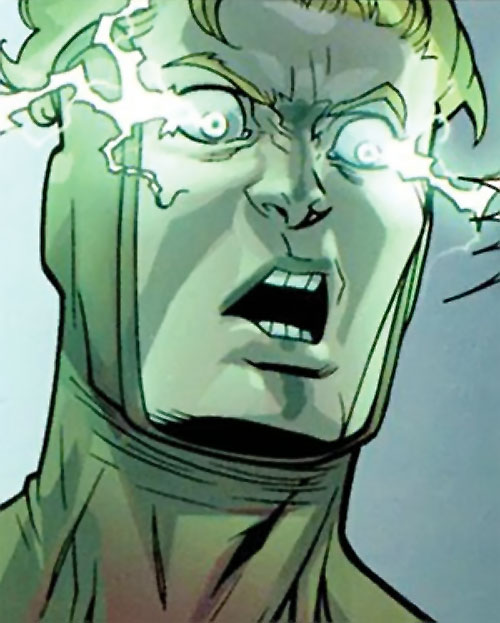 Powerplex (Invincible comics) face closeup with energised eyes