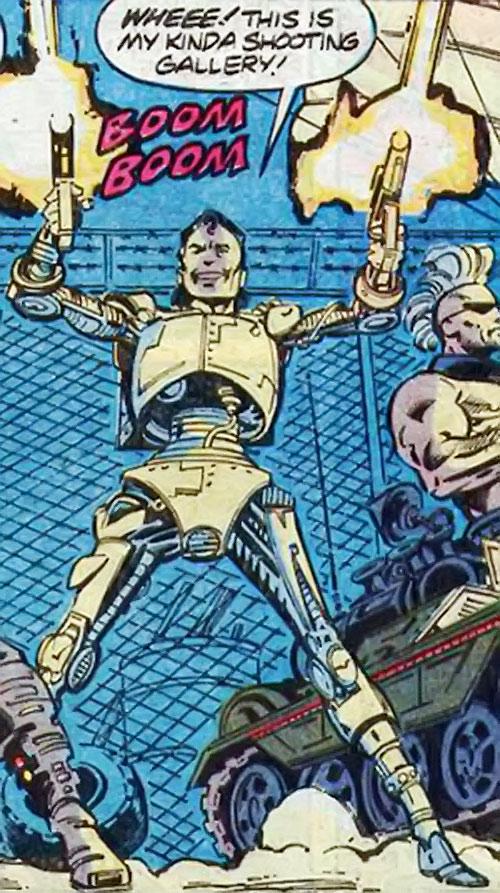Pretty Boy of the Reavers (X-Men enemy) (Marvel Comics) shooting dual machine pistols