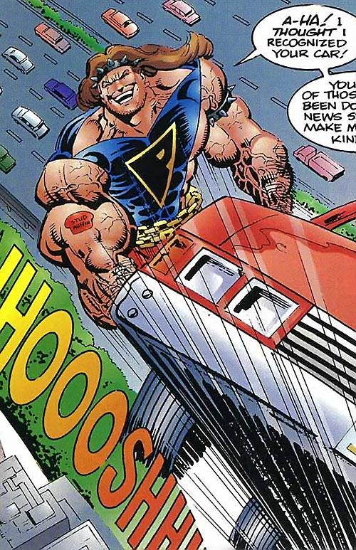 Prime (Ultraverse Malibu Comics) (bad boy persona) flies with a car