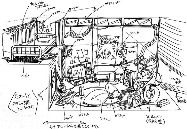 Schematics of Priss' trailer home
