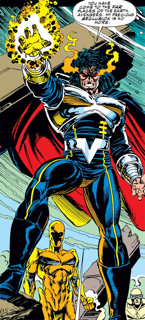 Proctor of the Gatherers (Avengers enemy) (Marvel Comics) and his Vision