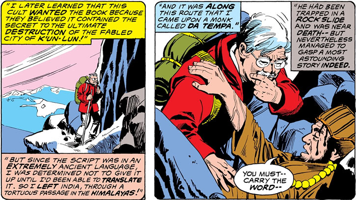 Professor Lee Wing (Iron Fist character) (Marvel Comics) trekking in the Himalayas