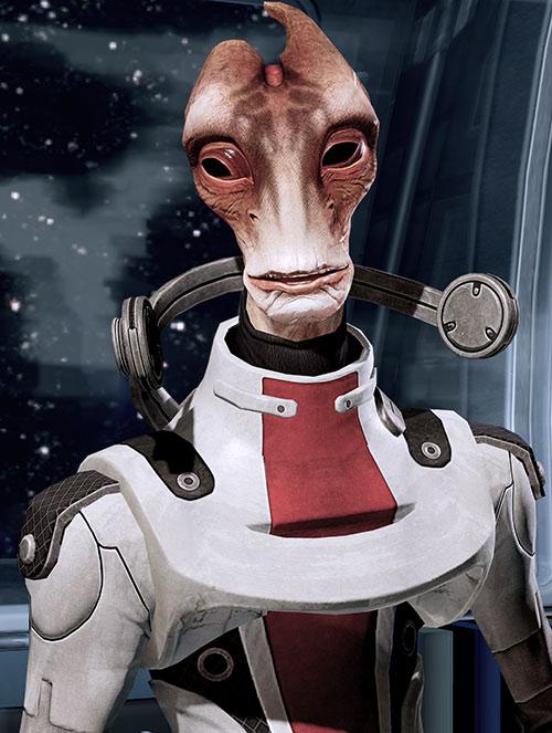 Professor Mordin Solus (Mass Effect) smiling