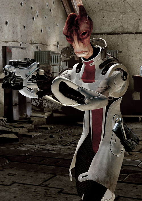 Professor Mordin Solus (Mass Effect) aiming a Phalanx pistol