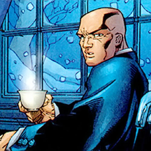Professor X of the X-Men (Marvel Comics) with a cup of tea