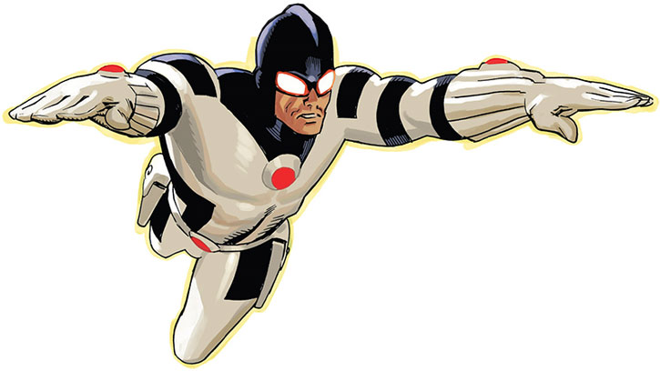 Protector (Noh-Varr) flying over a white background