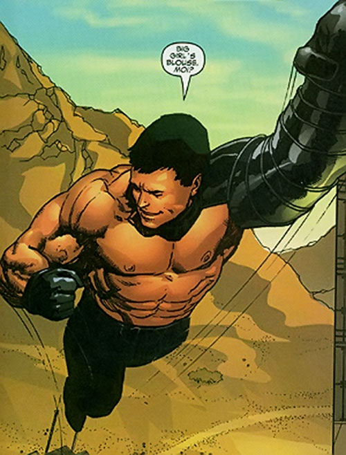 Proudstar aka Warpath of X-Force (Marvel Comics) flying bare-chested