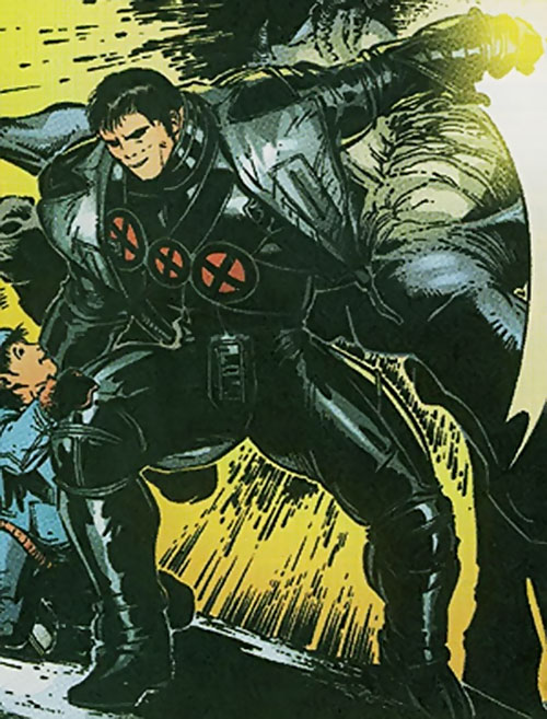 Proudstar aka Warpath of X-Force (Marvel Comics) in the black costume with red Xs
