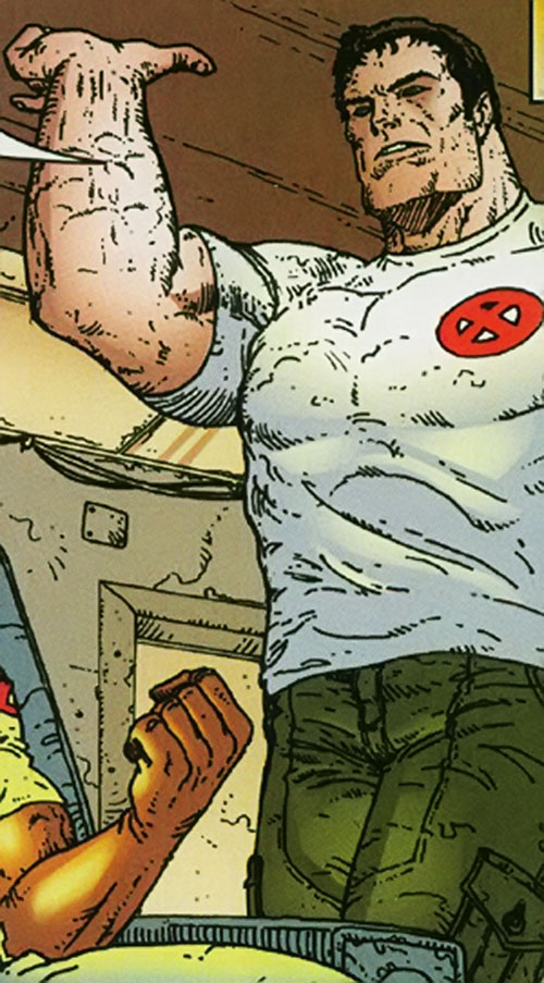 Proudstar aka Warpath of X-Force (Marvel Comics) in a white T-shirt