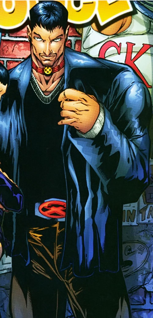 Proudstar aka Warpath of X-Force (Marvel Comics) in a black leather jacket