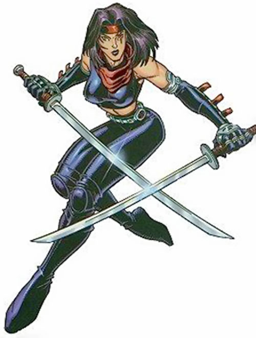 Psylocke of the X-Men and Exiles (Marvel Comics) in black leather with paired katana