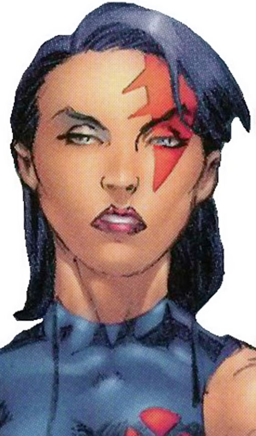 Psylocke of the X-Men and Exiles (Marvel Comics) face closeup