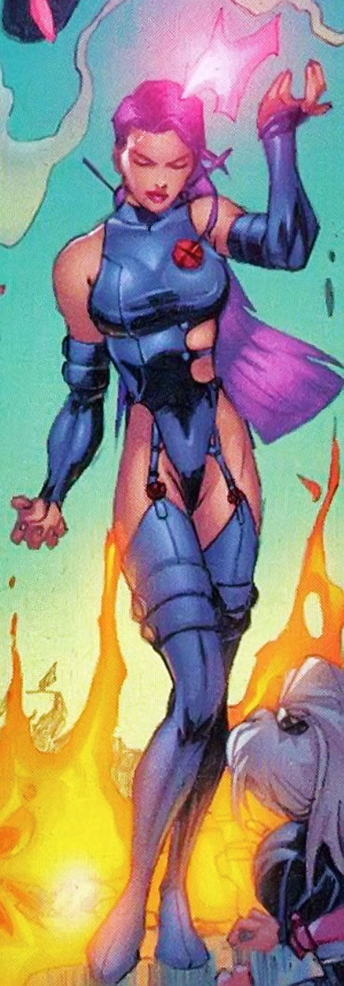 Psylocke of the X-Men and Exiles (Marvel Comics) with a silly costume