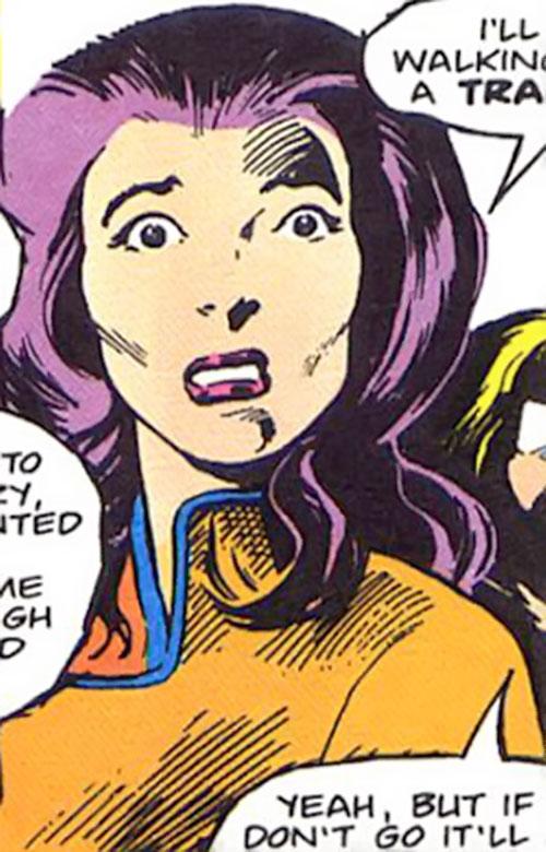 Psylocke of the X-Men (Marvel Comics) looks horrified