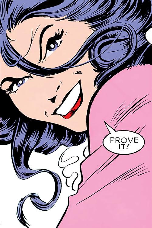 Psylocke of the X-Men (Marvel Comics) Alan Davis face closeup