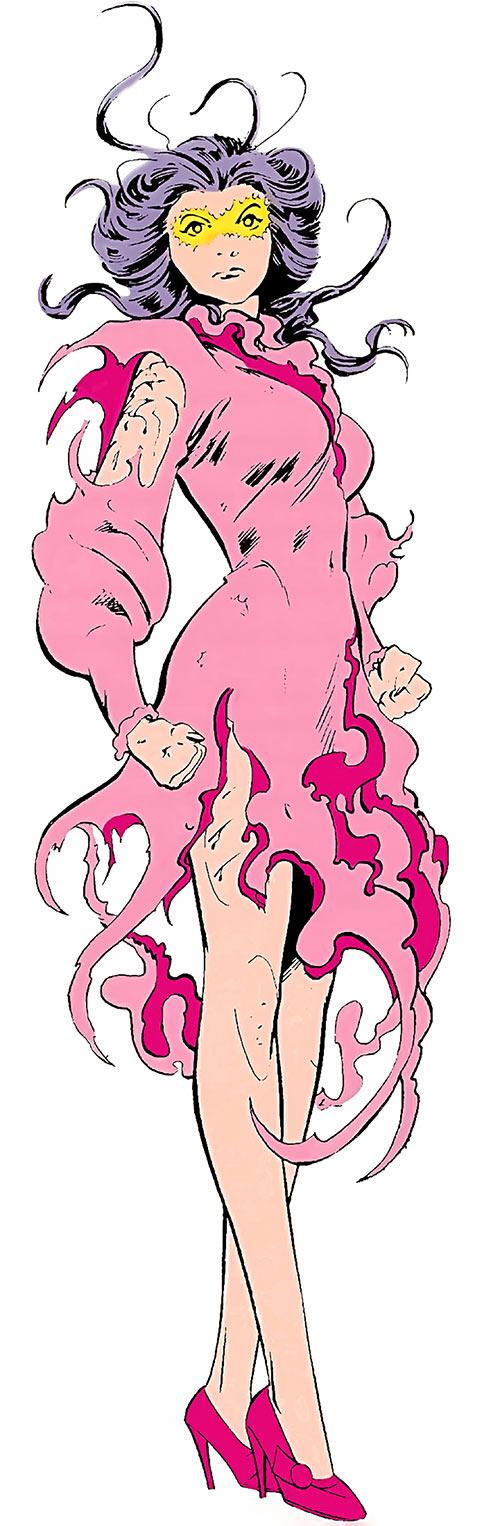 Psylocke of the X-Men (Marvel Comics) by Alan Davis in a shredded pink dress